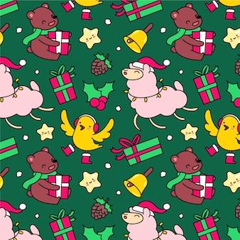 Lustiger dekorationsweihnachtsmusterhintergrund