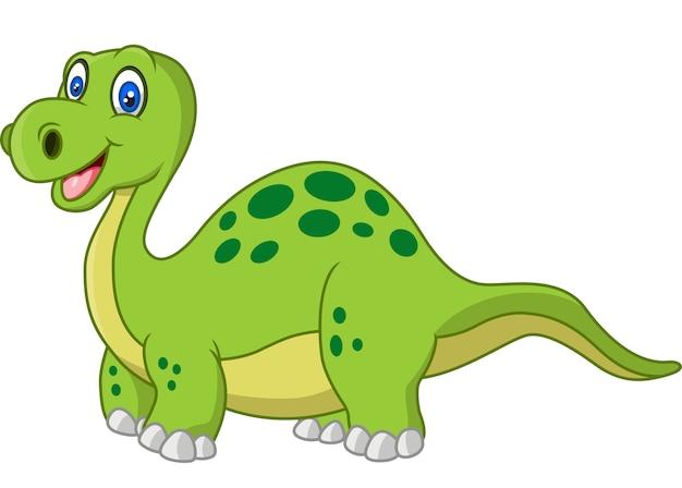 Lustiger dinosaurier der karikatur lokalisiert auf weißem hintergrund
