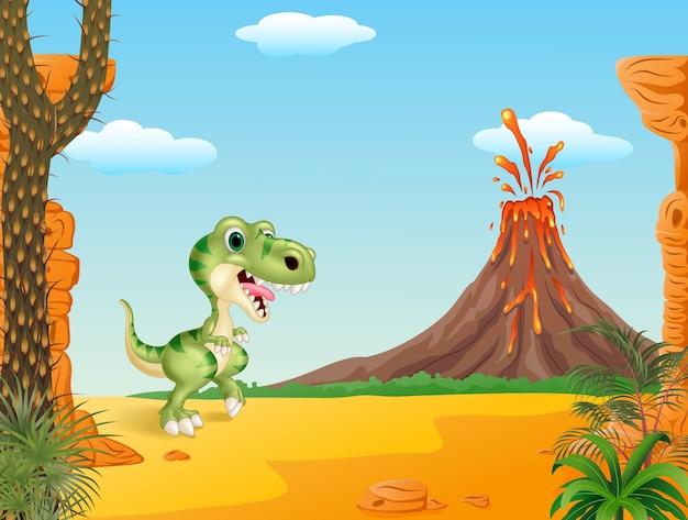 Lustiger dinosaurier der karikatur mit prähistorischem hintergrund
