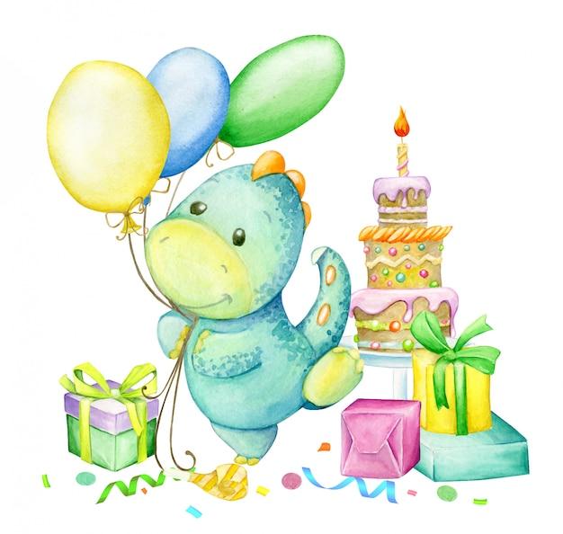 Lustiger dinosaurier, tanzend mit luftballons, auf dem hintergrund, kuchen, geschenke. aquarell, zum geburtstag.