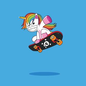Lustiger einhorn-cartoon und skateboard