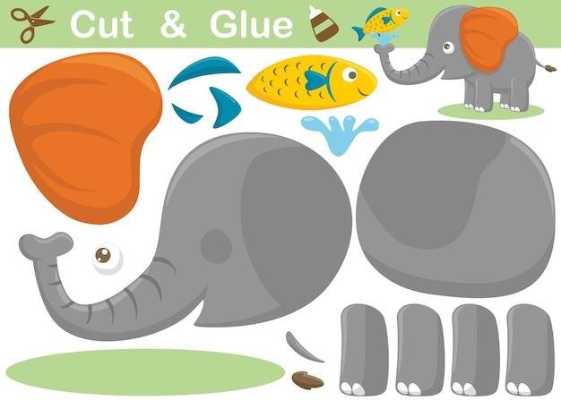 Lustiger elefanten-cartoon mit einem fisch. bildungspapierspiel für kinder. ausschneiden und kleben