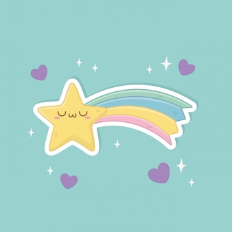 Lustiger fantasiestern und regenbogen kawaii charakter