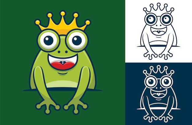 Lustiger frosch, der goldene krone trägt. karikaturillustration im flachen ikonenstil