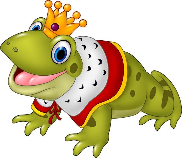 Lustiger froschkönig der karikatur lokalisiert auf weißem hintergrund