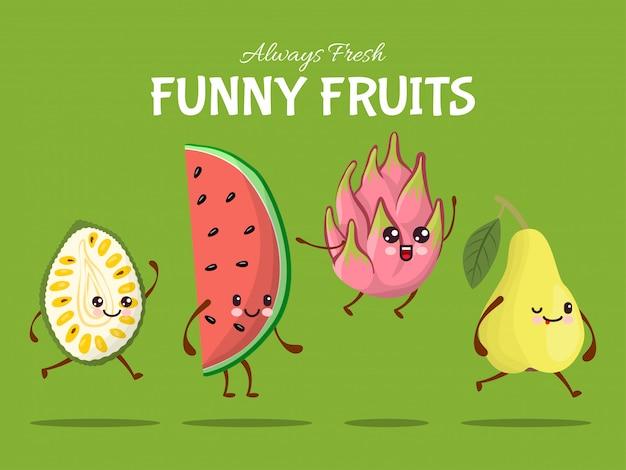 Lustiger fruchtcharakter-sprungspaziergang, tropische nahrungsmittelsprungillustration. wassermelone, birne, drachenfrucht und durian asia gericht.