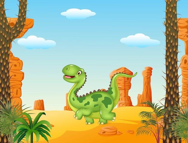 Lustiger gehender dinosaurier der karikatur im wüstenhintergrund