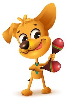 Lustiger gelber hund spielt maracas. isoliert.
