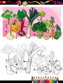 Lustiger gemüse cartoon für malbuch