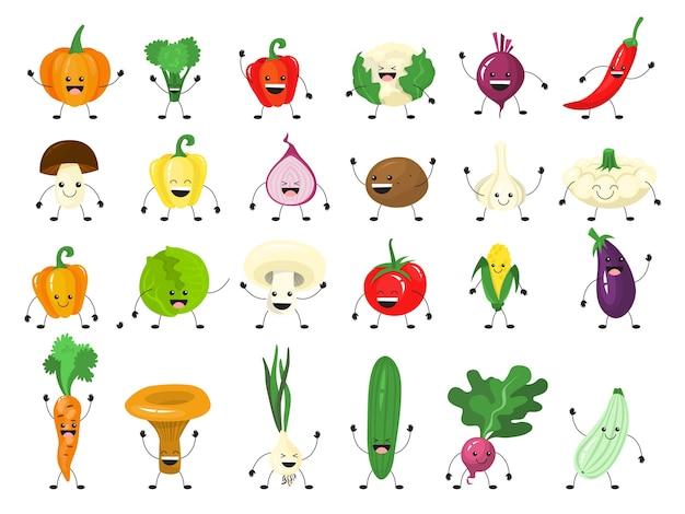 Lustiger gemüse-zeichensatz. gruppe der glücklichen gurke