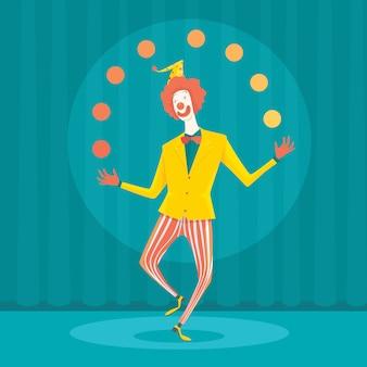 Lustiger geschäftsmann, der mit büroausrüstung jongliert.