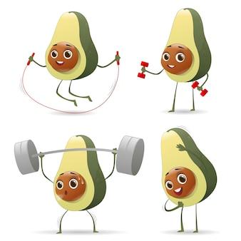 Lustiger gesunder lebensstil der avocado