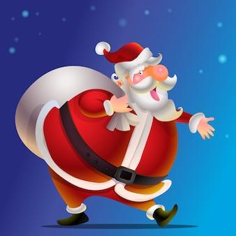 Lustiger glücklicher santa claus-charakter mit geschenk, tasche mit geschenken