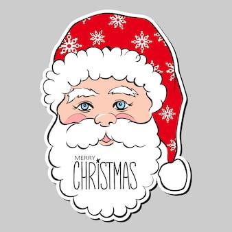 Lustiger glücklicher weihnachtsmann und aufschriften frohe weihnachten