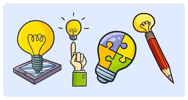 Lustiger glühbirnenlampen-cartoon für kreativität und ideenkonzept im gekritzelstil