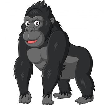 Lustiger gorilla der karikatur auf weißem hintergrund