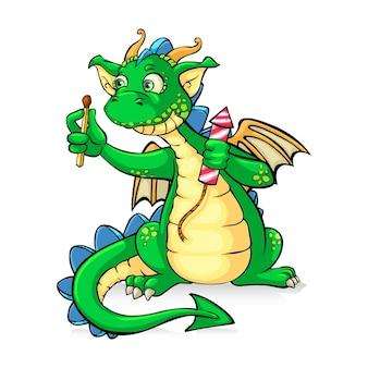 Lustiger grüner drache, der feuerwerk hält
