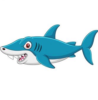 Lustiger haifisch der karikatur lokalisiert auf weißem hintergrund