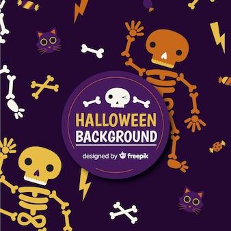 Lustiger halloween-hintergrund mit flachem design