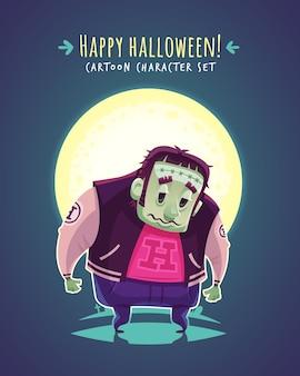Lustiger halloween-mutant. zeichentrickfigur illustration