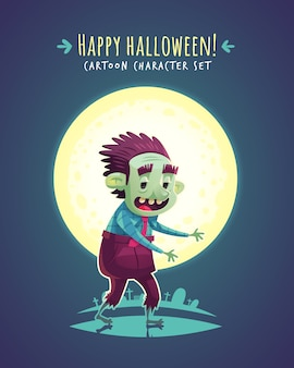 Lustiger halloween-zombie. zeichentrickfigur illustration