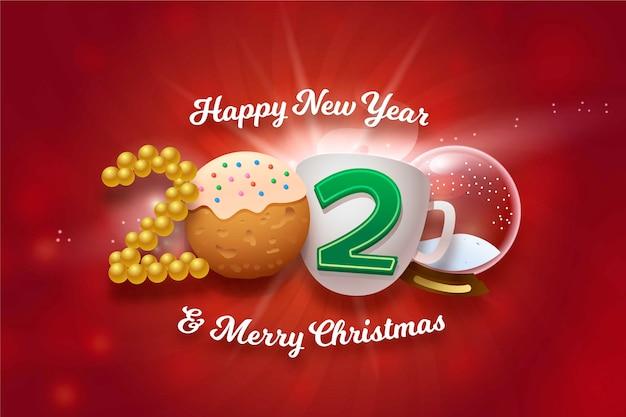 Lustiger hintergrund des guten rutsch ins neue jahr und der frohen weihnachten