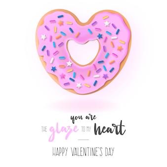 Lustiger hintergrund mit liebes-donut und mitteilung