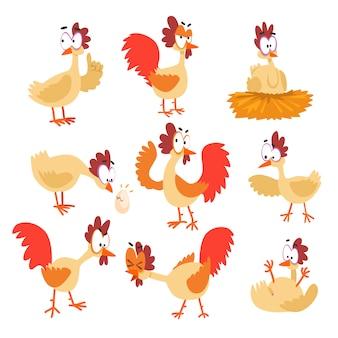 Lustiger hühnersatz, komische zeichentrickfilm-vogelcharaktere in den verschiedenen haltungen und gefühlillustrationen.