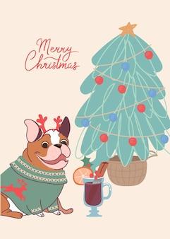 Lustiger hund französische bulldogge auf weihnachtskarte