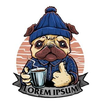 Lustiger hund mit einem glas kaffee