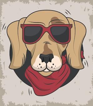 Lustiger hund mit sonnenbrille coolen stil