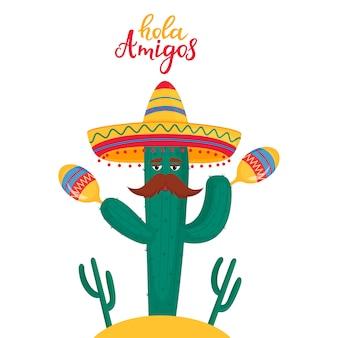 Lustiger kaktus in sombrero spielt maracas. lokales mexikanisches traditionelles musikfestival.
