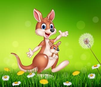 Lustiger Känguru der Karikatur, der ein nettes Joey trägt