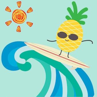Lustiger karikaturananascharakter, der für sommerhintergrund surft.