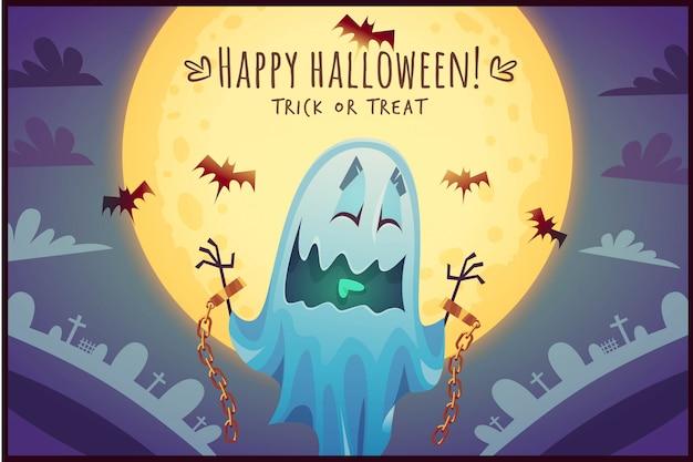 Lustiger karikaturgeist auf vollmondhimmelhintergrund glückliches halloweenplakat süßes oder saures grußkartenillustration