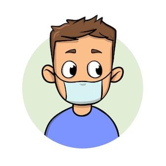 Lustiger karikaturmann, der medizinische maske für atemwegserkrankungenschutz trägt. cartoon-design-ikone. bunte flache illustration. auf weißem hintergrund isoliert.