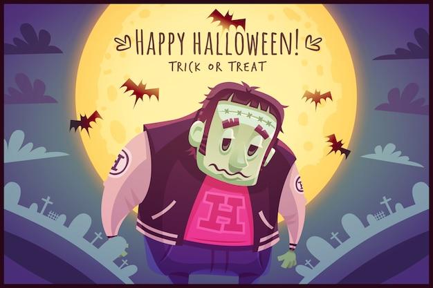 Lustiger karikaturmutantenzombie auf vollmondhimmelhintergrund happy halloween-poster süßes oder saures grußkartenillustration