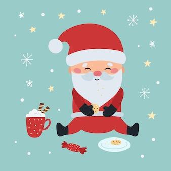 Lustiger kawaii weihnachtsmann mit keksen und kakaogetränk
