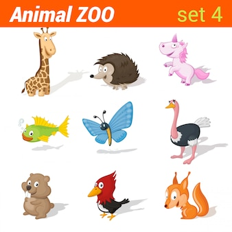 Lustiger kindertierikonensatz. kid sprachlernelemente. giraffe, igel, einhorn, fisch, schmetterling, strauß, hamster, specht, eichhörnchen.
