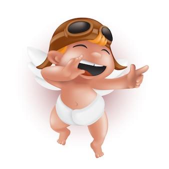 Lustiger kleiner amor in windel, helm und pilotenbrille, zeigt mit dem finger und lacht. netter engelscharakter