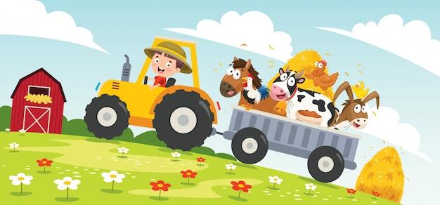 Lustiger kleiner bauer, der traktor reitet