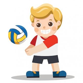 Lustiger kleiner junge, der volleyball spielt