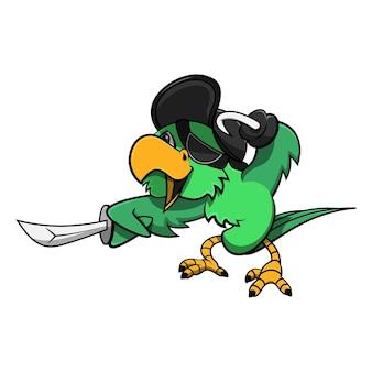 Lustiger kleiner papagei, der kapitän piratenmütze trägt und mit haken spielt