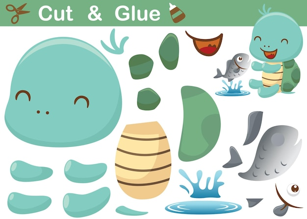 Lustiger kleiner schildkröten-cartoon mit einem fisch bildungspapierspiel für kinder ausschneiden und kleben