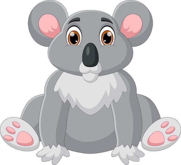 Lustiger koala-cartoon auf weißem hintergrund