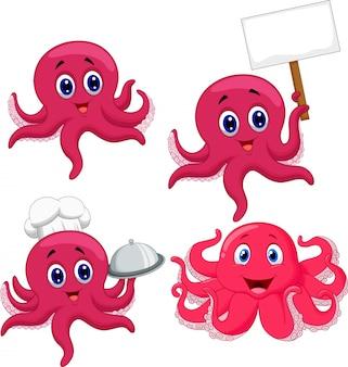 Lustiger kraken-sammlungssatz der karikatur