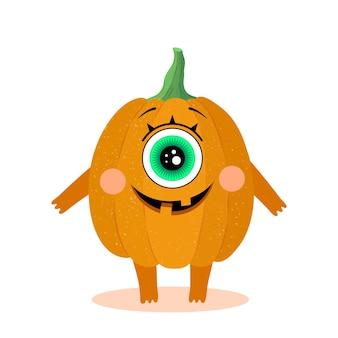 Lustiger kürbischarakter. einäugiges monster. lächeln. freude. halloween. vektorillustration in einem flachen stil. isoliert auf weißem hintergrund. für design