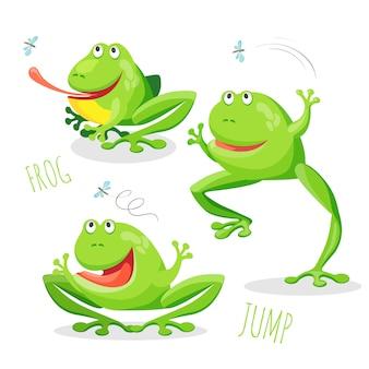 Lustiger lächelnder springender frosch