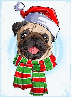 Lustiger lächelnder weihnachtsmopshundekopf mit weihnachtsmannmütze und schal xmas mopshund