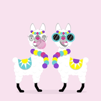 Lustiger lamas alpaka mit brille und kaugummi auf rosa hintergrund. flaches bild des süßen und lustigen tieres.